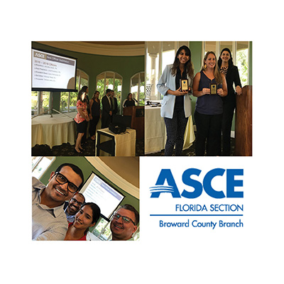 CMA Staff Inducted for Three Positions at the ASCE Broward Branch Officer Installation
